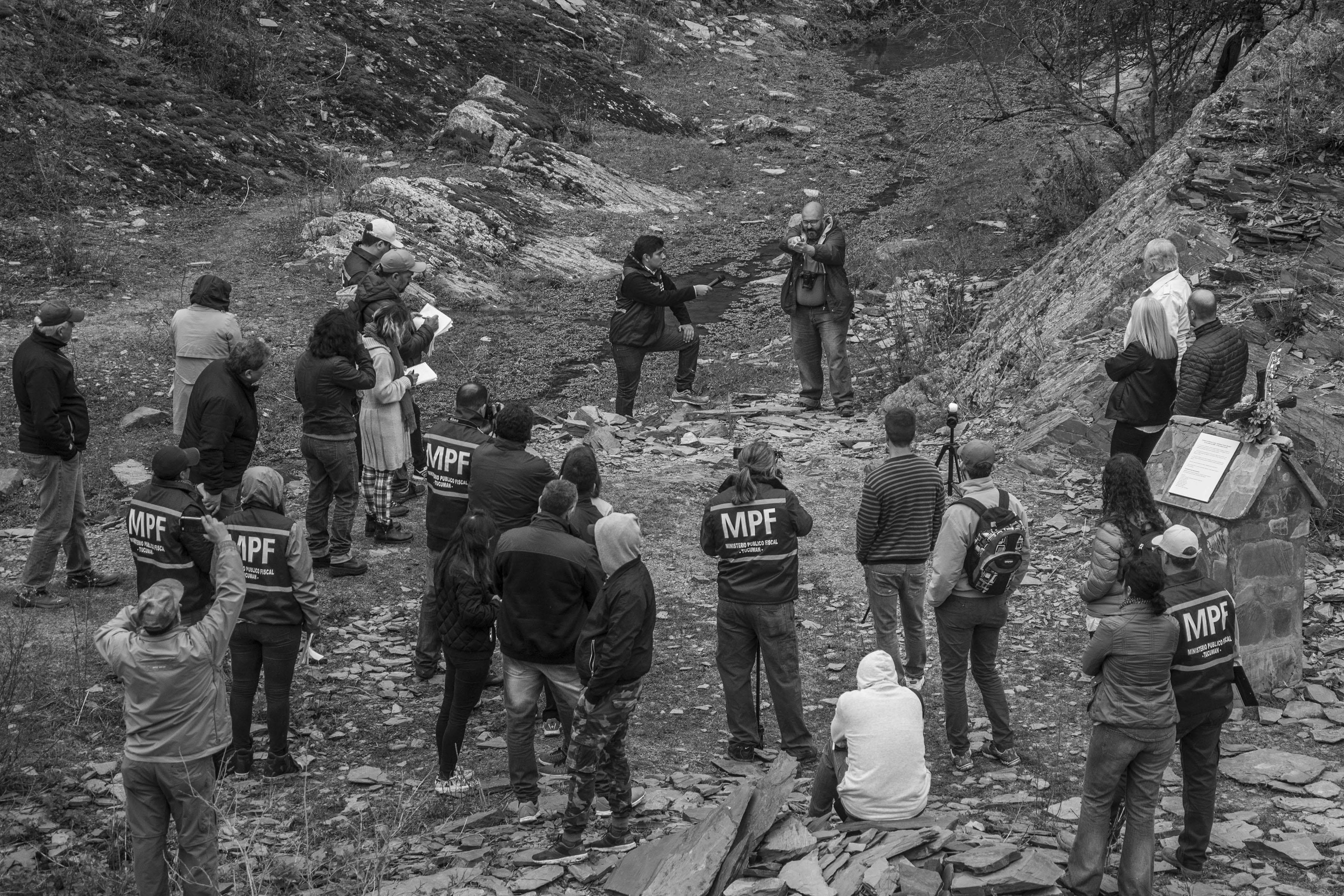 El Chorro, Tucumán, Argentina. Octubre 02/2018. Reconstrucción del asesinato a Javier Chocobar. El imputado Darío Luis Amín (calvo) da su versión de los hechos.