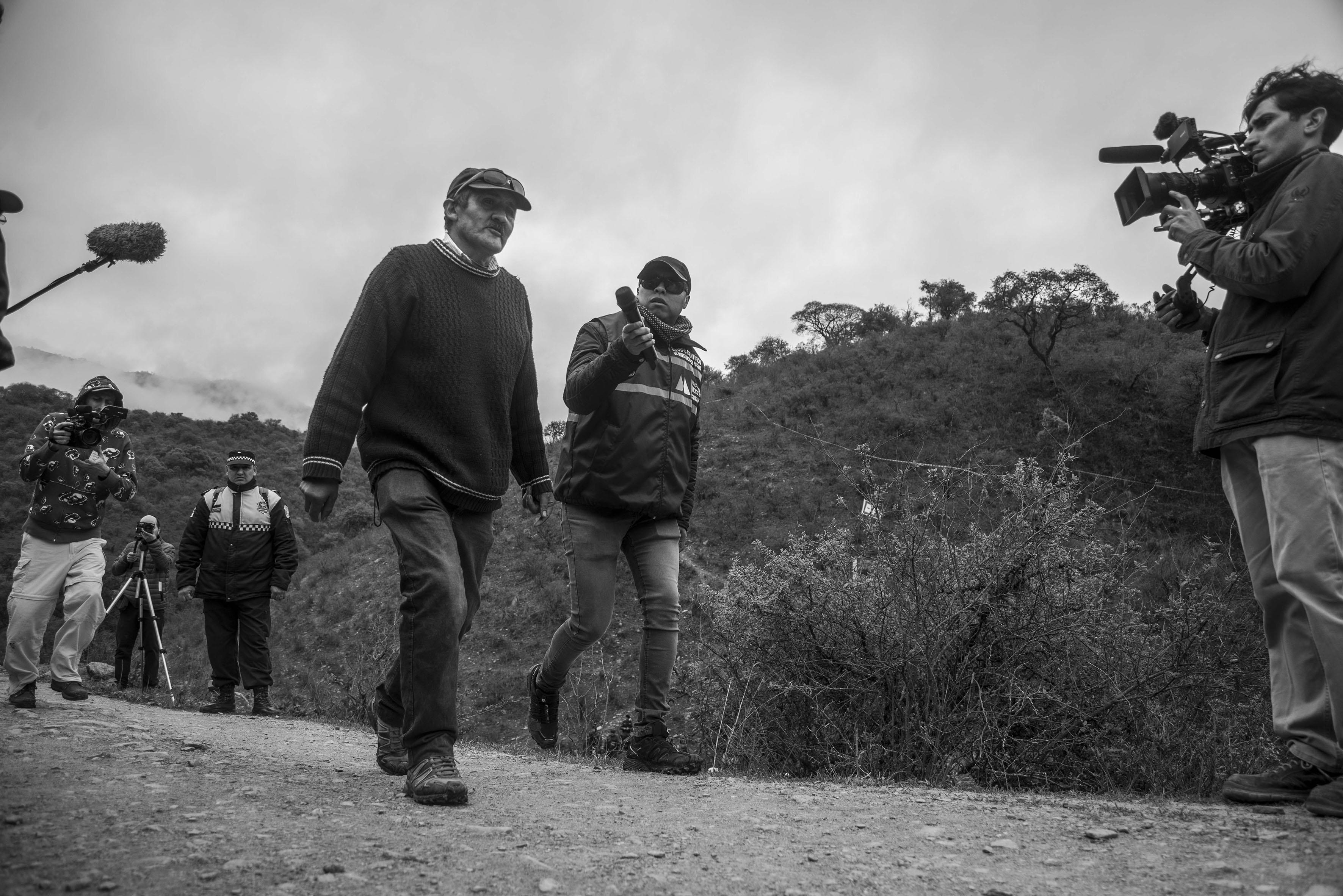 El Chorro, Tucumán, Argentina. Octubre 02/2018. Reconstrucción del asesinato a Javier Chocobar. El testigo Delfín Cata da su versión de los hechos.