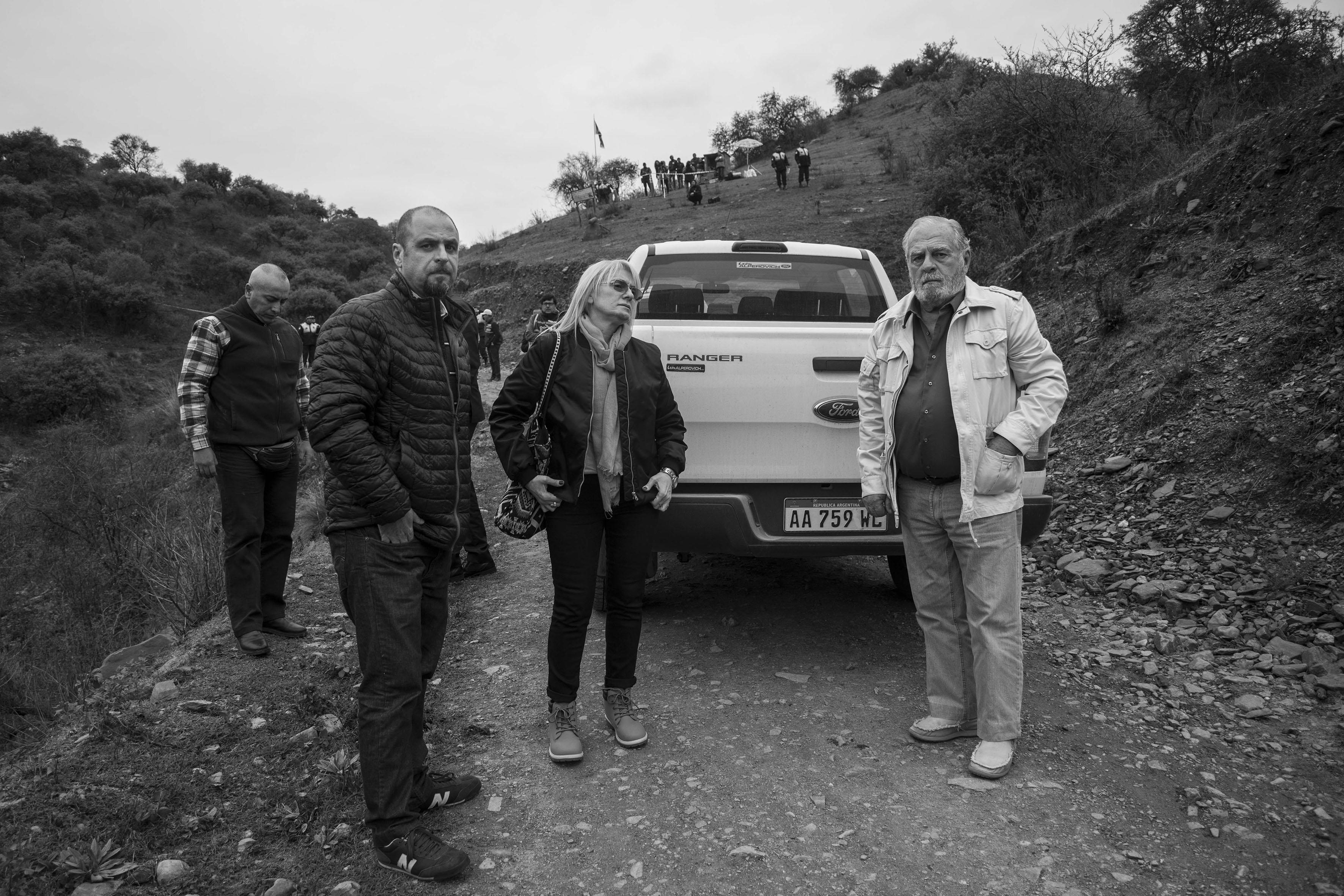 El Chorro, Tucumán, Argentina. Octubre 02/2018. Reconstrucción del asesinato a Javier Chocobar. Jueces Gustavo A S. Romagnoli (izq), Wendy Adela Kassar (Presidenta) y Emilio Paez de la Torre.